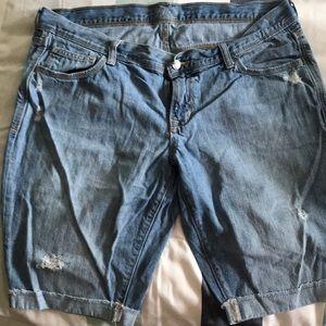 Old Navy Distressed Denim Bermuda Shorts-Size 14
